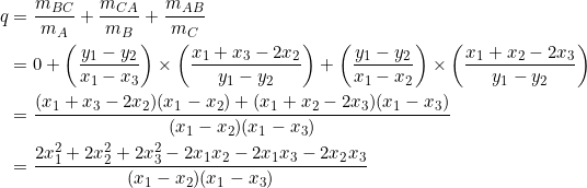 \begin{equation*} \begin{split} q&=\frac{m_{BC}}{m_A}+\frac{m_{CA}}{m_B}+\frac{m_{AB}}{m_C}\\ &=0+\left(\frac{y_1-y_2}{x_1-x_3}\right)\times\left(\frac{x_1+x_3-2x_2}{y_1-y_2}\right)+\left(\frac{y_1-y_2}{x_1-x_2}\right)\times\left(\frac{x_1+x_2-2x_3}{y_1-y_2}\right)\\ &=\frac{(x_1+x_3-2x_2)(x_1-x_2)+(x_1+x_2-2x_3)(x_1-x_3)}{(x_1-x_2)(x_1-x_3)}\\ &=\frac{2x_1^2+2x_2^2+2x_3^2-2x_1x_2-2x_1x_3-2x_2x_3}{(x_1-x_2)(x_1-x_3)} \end{split} \end{equation*}